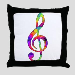 Treble Clef - paint splattered Throw Pillow