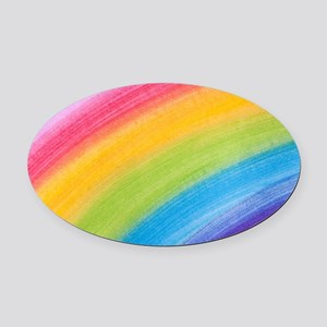 Acrylic Rainbow Oval Car Magnet