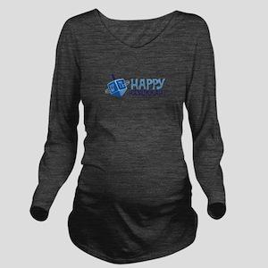 HAPPY HANUKKAH! Long Sleeve Maternity T-Shirt