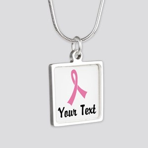 Personalized Pink Ribbon A Silver Square Necklace