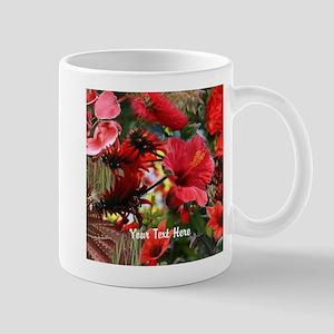 Customizable Red Flower Photo Collage Mug