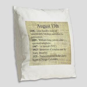August 13th Burlap Throw Pillow