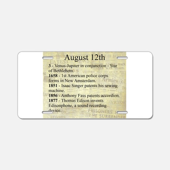 August 12th Aluminum License Plate