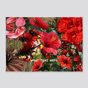 Customizable Red Flower Photo Colla 5'x7'Area Rug