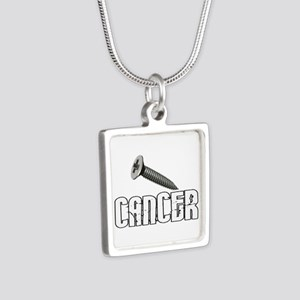 Screw Carcinoid Cancer 1C Silver Square Necklace