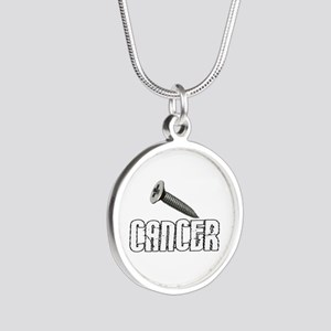 Screw Carcinoid Cancer 1C Silver Round Necklace