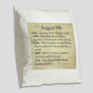 August 9th Burlap Throw Pillow