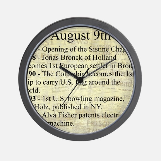 August 9th Wall Clock