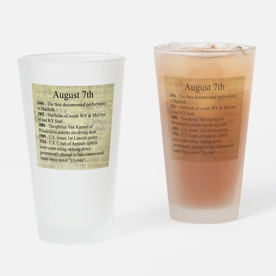 August 7th Drinking Glass