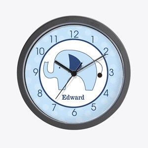 Navy Blue Mod Elephant Add A Name Wall Clock