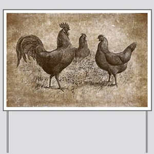 Chickens And Rooster Yard Sign