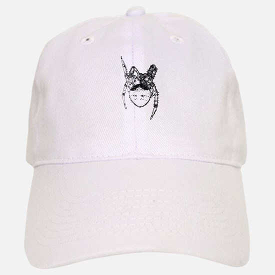 Cat face spider bw Baseball Baseball Cap