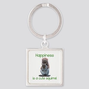 Squirrel Happiness Square Keychain