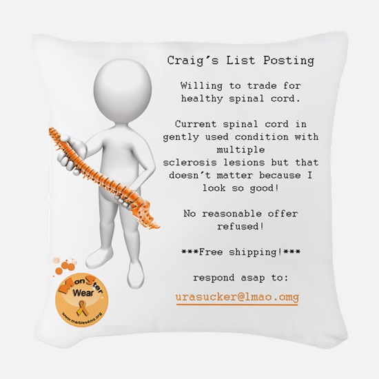 Craig's List Posting Woven Throw Pillow