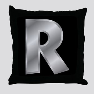 Silver Letter R Throw Pillow