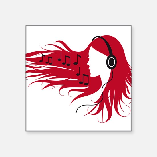 Music woman with headphones and red hair Sticker