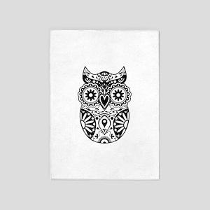Sugar Skull Style Owl 5'x7'Area Rug