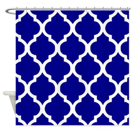 dark blue quatrefoil pattern shower curtain by showercurtainsworld. Black Bedroom Furniture Sets. Home Design Ideas