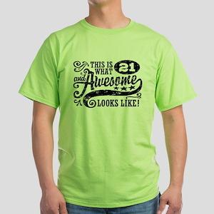 21st Birthday Green T-Shirt