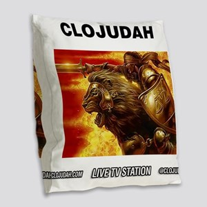 CLOJudah Conquering Lion Fire Burlap Throw Pillow