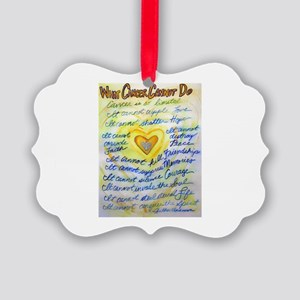 Blue & Gold Heart Cancer Picture Ornament