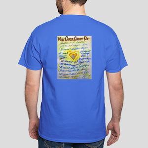 Blue & Gold Heart Cancer Dark T-Shirt
