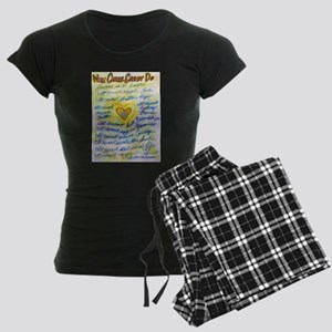 Blue & Gold Heart Cancer Women's Dark Pajamas