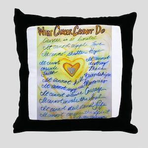 Blue & Gold Heart Cancer Throw Pillow