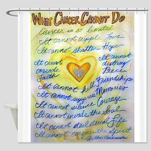 Blue & Gold Heart Cancer Shower Curtain