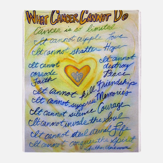 Blue & Gold Heart Cancer Throw Blanket