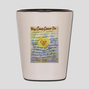 Blue & Gold Heart Cancer Shot Glass
