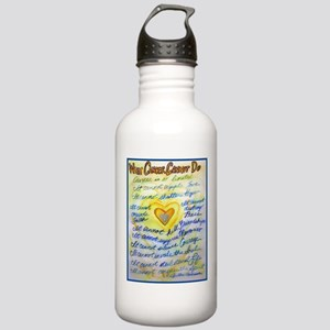 Blue & Gold Heart Canc Stainless Water Bottle 1.0L