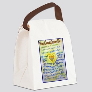Blue & Gold Heart Cancer Canvas Lunch Bag