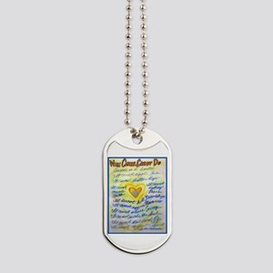 Blue & Gold Heart Cancer Dog Tags