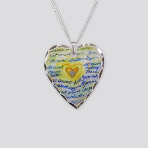 Blue & Gold Heart Cancer Necklace Heart Charm