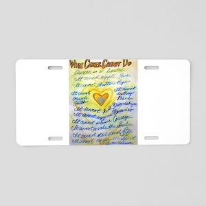 Blue & Gold Heart Cancer Aluminum License Plate