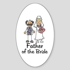Cartoon Bride's Father Oval Sticker