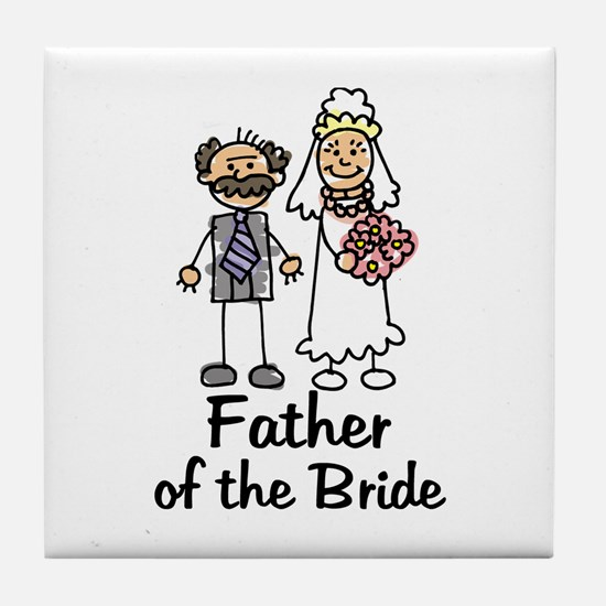 Cartoon Bride's Father Tile Coaster