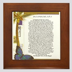 desiderata poster coconut palm butterfly Framed Ti