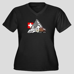 Alpine Hike Women's Plus Size V-Neck Dark T-Shirt