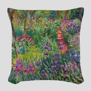 Monet Iris Garden Giverny Woven Throw Pillow