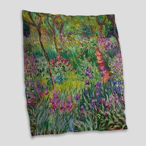 Monet Iris Garden Giverny Burlap Throw Pillow