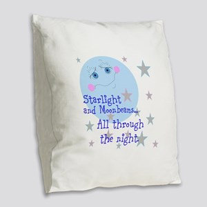 Starlight And Moonbeams Burlap Throw Pillow