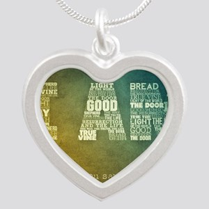 I AM Word Art Silver Heart Necklace