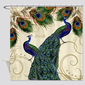 Vintage Peacock Feathers Antique Damask Scroll Sho