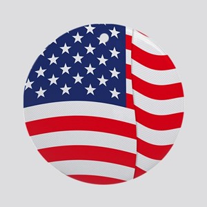 American Flag Waving Ornament (Round)