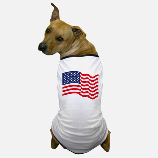 American Flag Waving Dog T-Shirt