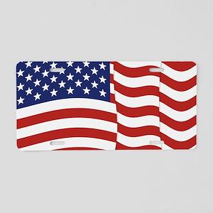 American Flag Waving Aluminum License Plate