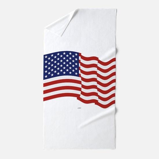 American Flag Waving Beach Towel