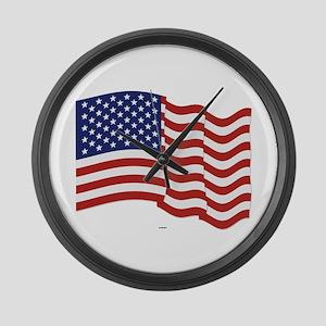 American Flag Waving Large Wall Clock